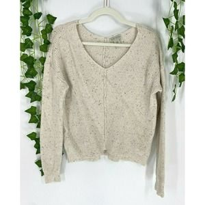 Ruby Moon Ribbed Knit Sweater V-Neck Speckled